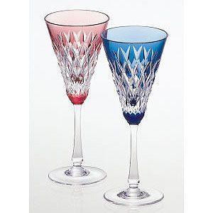 カガミクリスタル 色被せクリスタルグラス ペアワイングラス(赤・青) カガミクリスタル|shop-adex