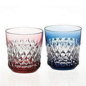 カガミクリスタル 色被せクリスタルグラス ロックグラス ペアセット カガミクリスタル|shop-adex