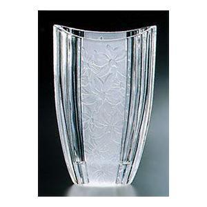 花瓶 ガラス・クリスタル花器 蘭模様 楕円ベース 花瓶|shop-adex