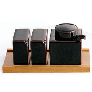 白山陶器 調味料入れ 3点コンディメントセット(木台付)(天目)(黒) 白山陶器|shop-adex