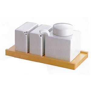 白山陶器 調味料入れ 3点コンディメントセット(木台付)(白磁) 白山陶器|shop-adex