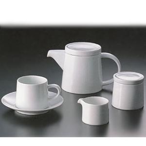 白山陶器 M型コーヒーカップ カフェセット(ホワイト)(ポット・シュガーポット・クリーマー付き)|shop-adex