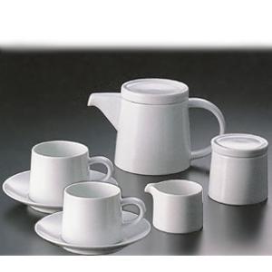 白山陶器 M型コーヒーカップ ペアカフェセット(ホワイト)(ポット・シュガーポット・クリーマー付き)|shop-adex