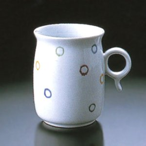 白山陶器 Q型 マグカップ 水玉 白山陶器|shop-adex