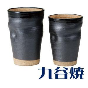 九谷焼 ビアカップ 黒釉焼〆ペアセット ビールカップ 九谷焼|shop-adex