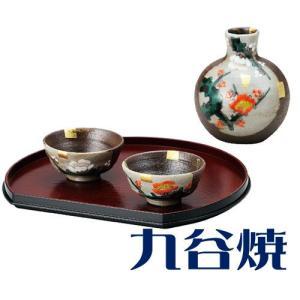 九谷焼 晩酌揃え 紅白梅 酒器セット(ぐい呑み・徳利) 酒器 九谷焼 shop-adex