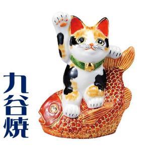 九谷焼 置物 鯛乗り招き猫・毛長三毛 九谷焼 置き物|shop-adex