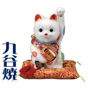 九谷焼 置物 小槌持招き猫・白盛 九谷焼 置き物|shop-adex