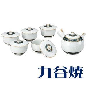 九谷焼 茶器揃え 白七宝 セット(急須×1 湯呑み×5) 九谷焼 茶器セット|shop-adex