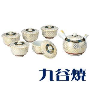 九谷焼 茶器揃え 金七宝 セット(急須×1 湯呑み×5) 九谷焼 茶器セット|shop-adex