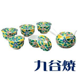 九谷焼 茶器揃え 吉田屋花文 セット(急須×1 湯呑み×5) 九谷焼 茶器セット|shop-adex
