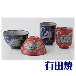 夫婦茶碗・夫婦湯飲みセット 有田焼 濃牡丹唐草 夫婦湯のみ・夫婦茶碗|shop-adex