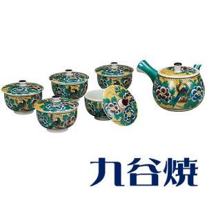 九谷焼 茶器揃え 吉田屋花鳥 セット(急須×1 湯呑み×5) 九谷焼 茶器セット|shop-adex