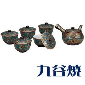 九谷焼 茶器揃え 青粒金唐草 セット(急須×1 湯呑み×5) 九谷焼 茶器セット|shop-adex