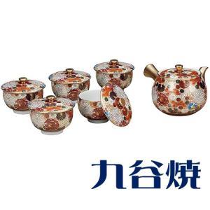 九谷焼 茶器揃え 花詰 セット(急須×1 湯呑み×5) 九谷焼 茶器セット|shop-adex
