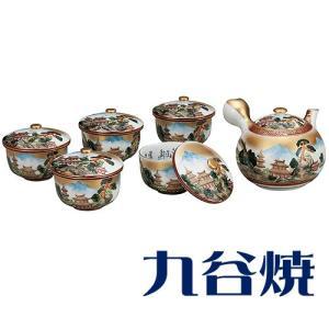 九谷焼 茶器揃え 本金山水 セット(急須×1 湯呑み×5) 九谷焼 茶器セット|shop-adex