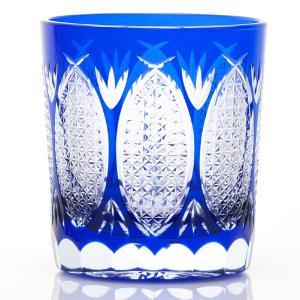 江戸切子 八つ割麻の葉紋様 オールド ロックグラス 藍 江戸切子|shop-adex