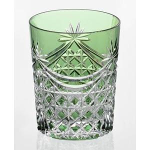 江戸切子 カガミクリスタル ロックグラス 幕襞に四角籠目 紋 緑|shop-adex