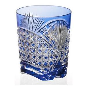 江戸切子 カガミクリスタル ロックグラス 笹っ葉に四角籠目 ロックグラス 青|shop-adex