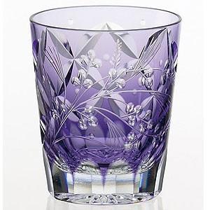 江戸切子 カガミクリスタル ロックグラス 根本達也 焼酎ロックグラス(萩とススキ)|shop-adex