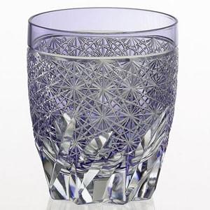 江戸切子 カガミクリスタル ロックグラス 篠崎英明 焼酎ロックグラス(紫)|shop-adex