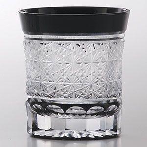 江戸切子 ロックグラス 菊繋ぎ 黒 ミニオールド 江戸切子|shop-adex