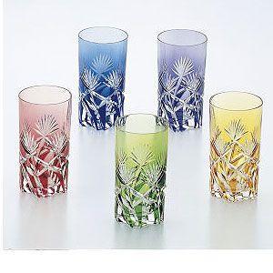 カガミクリスタル 色被せクリスタルグラス タンブラーセット(5客セット) カガミクリスタル|shop-adex