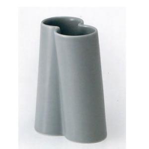 白山陶器 花瓶 ツイスト ダブル 乳グレイ 白山陶器|shop-adex