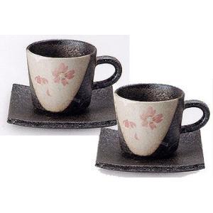コーヒーカップ 信楽焼 桃桜 ペアセット|shop-adex