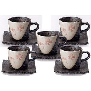 コーヒーカップ 信楽焼 桃桜 5客セット|shop-adex