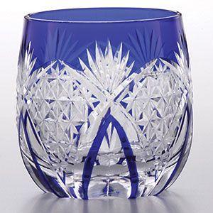 江戸切子 懐石杯 麻の葉繋ぎ 藍 江戸切子 shop-adex