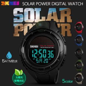 デジタル 腕時計 ソーラー 防水 スポーツ アウトドア 全5色|shop-always