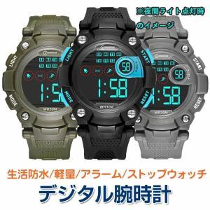 デジタル 腕時計 生活防水 メンズウォッチ スポーツ アラーム ストップウォッチ|shop-always