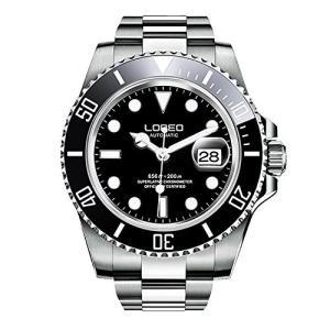 当店1年保証 ロレオLOREO Mens GMT Silver Stainless Steel Sapphire Glass Black Rotating bezel Men's Automatic Watch|shop-angelica
