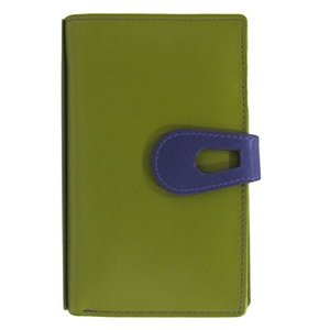 ILIili New York 7813 Midi Wallet with RFID Blocking Lining (Moss Green/Purple)|shop-angelica