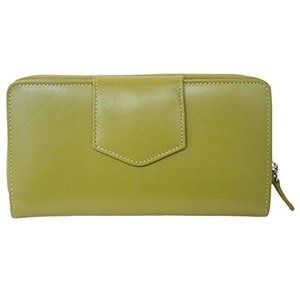 ILIili Leather 7410 Checkbook Wallet with RFID Blocking (Moss Green)|shop-angelica