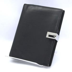 GUCCI / グッチ  6穴式 システム手帳 手帳カバー ブラック レザー  中古