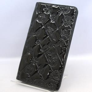 23793048959f CHANEL / シャネル パテントレザー エナメル アイコン 型押し 長財布 ブラック 中古