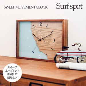 壁掛け時計 ウォールクロック Surf spot サーフスポット スイープ 音が鳴らない カリフォルニア cl-3845|shop-askm