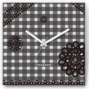 壁掛け時計 レースonチェック ファブリクロック ファブリック ウォールクロック 掛時計 壁時計 かけ時計 スイープ とけい 白黒|shop-askm