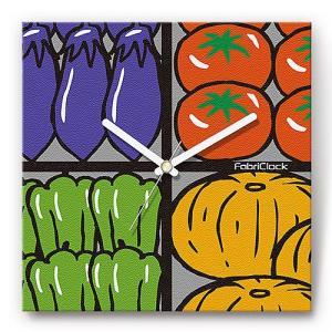 壁掛け時計 野菜市場 ファブリクロック ファブリック ウォールクロック 掛時計 壁時計 かけ時計 スイープ とけい やさい 食べ物|shop-askm