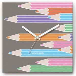 壁掛け時計 色えんぴつ ファブリクロック ファブリック ウォールクロック 掛時計 壁時計 かけ時計 スイープ とけい 鉛筆|shop-askm