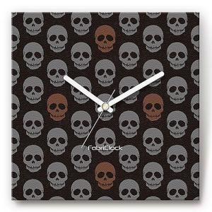 壁掛け時計 スカルパターン ファブリクロック ファブリック ウォールクロック 掛時計 壁時計 かけ時計 スイープ とけい ドクロ ガイコツ|shop-askm