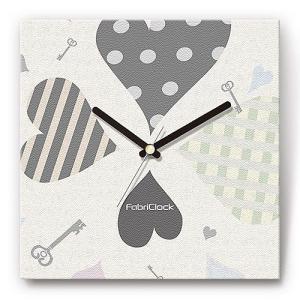 壁掛け時計 ハート&キー ファブリクロック ファブリック ウォールクロック 掛時計 壁時計 かけ時計 スイープ とけい 鍵 カギ|shop-askm