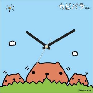 壁掛け時計 アートクロック シンプル ウォールクロック プレゼント スイープ カピバラさんもっしゃもっしゃ|shop-askm
