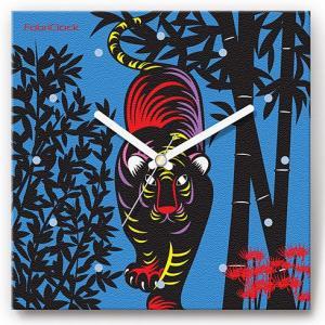 壁掛け時計 切り絵の虎 ファブリクロック ファブリック ウォールクロック 掛時計 壁時計 かけ時計 スイープ とけい トラ タイガー 動物|shop-askm