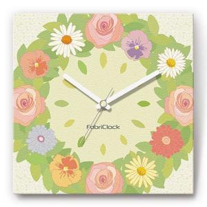 壁掛け時計 フラワーリース ファブリクロック ファブリック ウォールクロック 掛時計 壁時計 かけ時計 スイープ とけい 花 植物|shop-askm