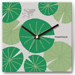 壁掛け時計 蓮に蛙 ファブリクロック ファブリック ウォールクロック 掛時計 壁時計 かけ時計 スイープ とけい かえる カエル|shop-askm
