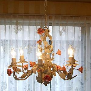 シャンデリア 照明器具 アンティーク バラ ペンダントライト PINKROSE ピンクローズ of-009/6 オーブ 6灯|shop-askm