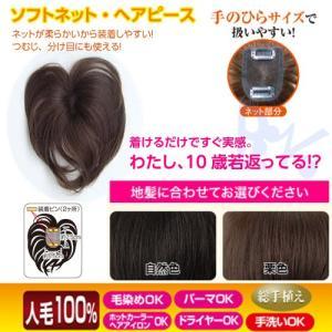 ソフトネット ヘアピース SO-110 人毛100% 部分ウィッグ 部分かつら つむじ 女性用かつら レディースカツラ 白髪かくし パーマOK ヘアカラーOK 手洗いOK|shop-beautiful-life